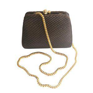 Vintage Judith Leiber Basket Weave Brown Mini Bag